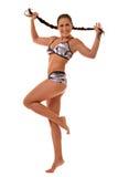 Beautiful sportive woman in underwear posing in studio. Stock Photos