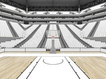 Beautiful sports arena for basketball with white seats. 3D render of beautiful sports arena for basketball with floodlights , VIP boxes and white seats for Stock Photos