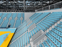 Beautiful sports arena for handball with sky blue seats and VIP boxes 3D render. 3D render of beautiful sports arena for handball with floodlights and sky blue Royalty Free Stock Photography
