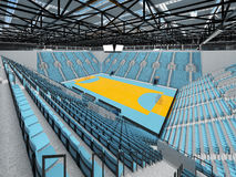 Beautiful sports arena for handball with sky blue seats and VIP boxes 3D render. 3D render of beautiful sports arena for handball with floodlights and sky blue Royalty Free Stock Images