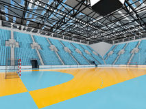 Beautiful sports arena for handball with sky blue seats and VIP boxes 3D render. 3D render of beautiful sports arena for handball with floodlights and sky blue Stock Photo