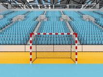 Beautiful sports arena for handball with sky blue seats and VIP boxes 3D render. 3D render of beautiful sports arena for handball with floodlights and sky blue Stock Images