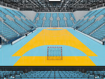 Beautiful sports arena for handball with sky blue seats and VIP boxes 3D render. 3D render of beautiful sports arena for handball with floodlights and sky blue Stock Image