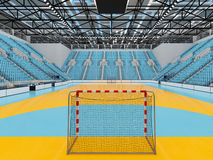 Beautiful sports arena for handball with sky blue seats and VIP boxes 3D render. 3D render of beautiful sports arena for handball with floodlights and sky blue Royalty Free Stock Photos