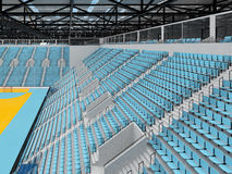 Beautiful sports arena for handball with sky blue seats and VIP boxes 3D render. 3D render of beautiful sports arena for handball with floodlights and sky blue Stock Photography