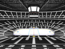 Beautiful sports arena for ice hockey with black seats and VIP boxes. 3D render of beautiful sports arena for ice hockey with black seats and VIP boxes for fifty Stock Photos