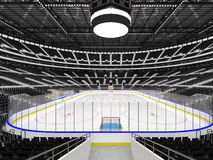 Beautiful sports arena for ice hockey with black seats and VIP boxes. 3D render of beautiful sports arena for ice hockey with black seats and VIP boxes for fifty Stock Photography