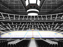 Beautiful sports arena for ice hockey with black seats and VIP boxes. 3D render of beautiful sports arena for ice hockey with black seats and VIP boxes for fifty Stock Images