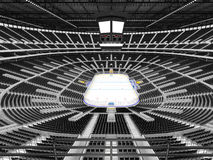 Beautiful sports arena for ice hockey with black seats and VIP boxes. 3D render of beautiful sports arena for ice hockey with black seats and VIP boxes for fifty Royalty Free Stock Image