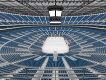 Beautiful sports arena for ice hockey with blue seats  VIP boxes 3d render Stock Photo