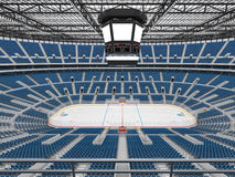 Beautiful sports arena for ice hockey with blue seats  VIP boxes 3d render Stock Image