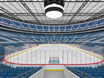 Beautiful sports arena for ice hockey with blue seats  VIP boxes 3d render Royalty Free Stock Images