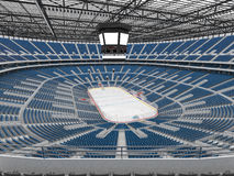 Beautiful sports arena for ice hockey with blue seats  VIP boxes 3d render Royalty Free Stock Photography