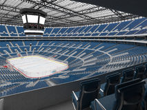 Beautiful sports arena for ice hockey with blue seats  VIP boxes 3d render Royalty Free Stock Photos