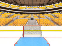 Beautiful sports arena for ice hockey with yellow seats and VIP boxes Royalty Free Stock Images
