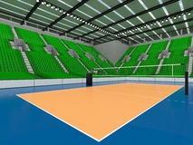 Beautiful sports arena for volleyball with green seats and floodlights - 3d render Stock Images