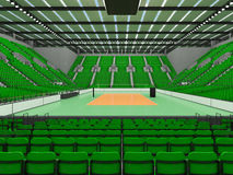 Beautiful sports arena for volleyball with green seats and floodlights - 3d render Royalty Free Stock Photo
