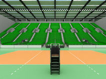 Beautiful sports arena for volleyball with green seats and floodlights - 3d render Royalty Free Stock Photos