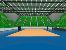Beautiful sports arena for volleyball with green seats and floodlights - 3d render Royalty Free Stock Images