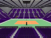 Beautiful sports arena for volleyball with purple seats and floodlights - 3d render Stock Photos
