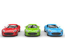 Beautiful sports cars - red, green and blue Stock Images