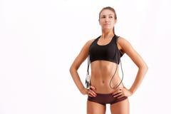 Beautiful sportsgirl with skipping rope Stock Image