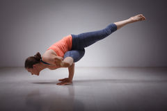 Beautiful sporty fit yogi girl practices yoga Stock Images