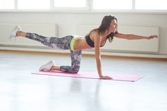 Beautiful sporty girl practices yoga. Pilates, doing balance exercise bird dog, fitness training for spine and shoulders Stock Image