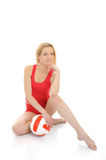 Beautiful sporty girl with volleyball ball. Stock Photos