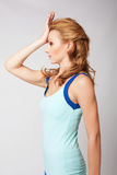 Beautiful sporty lady doing exercise stock photography