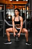 Beautiful sporty sexy woman doing squat workout in gym stock photo