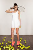 Beautiful sporty sexy woman, tennis player with racket. Royalty Free Stock Photography