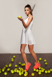 Beautiful sporty sexy woman, tennis player with racket Royalty Free Stock Image