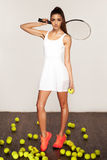 Beautiful sporty sexy woman, tennis player with racket Royalty Free Stock Images