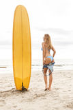 Beautiful sporty surfer girl at the beach. Beautiful surfing girl in sexy bikini with yellow surf longboard surfboard board on sunrise or sunset on the beach Royalty Free Stock Image