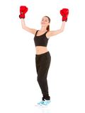 Beautiful sporty woman with boxing gloves Royalty Free Stock Images
