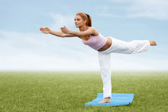 Beautiful Sporty Woman Doing Stretching Exercise Stock Photos