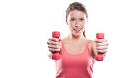 Beautiful sporty woman with dumbbells Stock Image