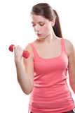 Beautiful sporty woman with dumbbells Stock Photos