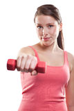 Beautiful sporty woman with dumbbells Royalty Free Stock Photos