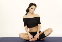 Beautiful Sporty Woman In Black Dress Slim Body Royalty Free Stock Photos