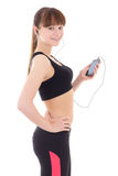 Beautiful sporty woman listening music with phone isolated on wh Royalty Free Stock Images
