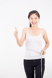 Beautiful sporty woman with measuring Royalty Free Stock Photography