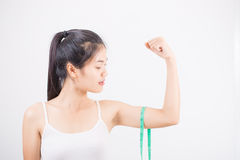 Beautiful sporty woman with measuring Royalty Free Stock Photo