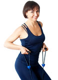 Beautiful sporty woman. Picture of beautiful sporty aged woman doing exercise Stock Photos