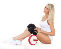 Sporty woman with roller slider. Fitness. Royalty Free Stock Photos