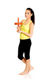 Beautiful sporty woman with sport wheel. Stock Photography