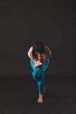 Beautiful sporty yogi girl practices yoga asana royalty free stock images