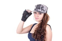 Beautiful sporty young girl wearing cap Royalty Free Stock Images