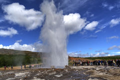 Beautiful spray. Most popular place when tourists visit Iceland Royalty Free Stock Photos